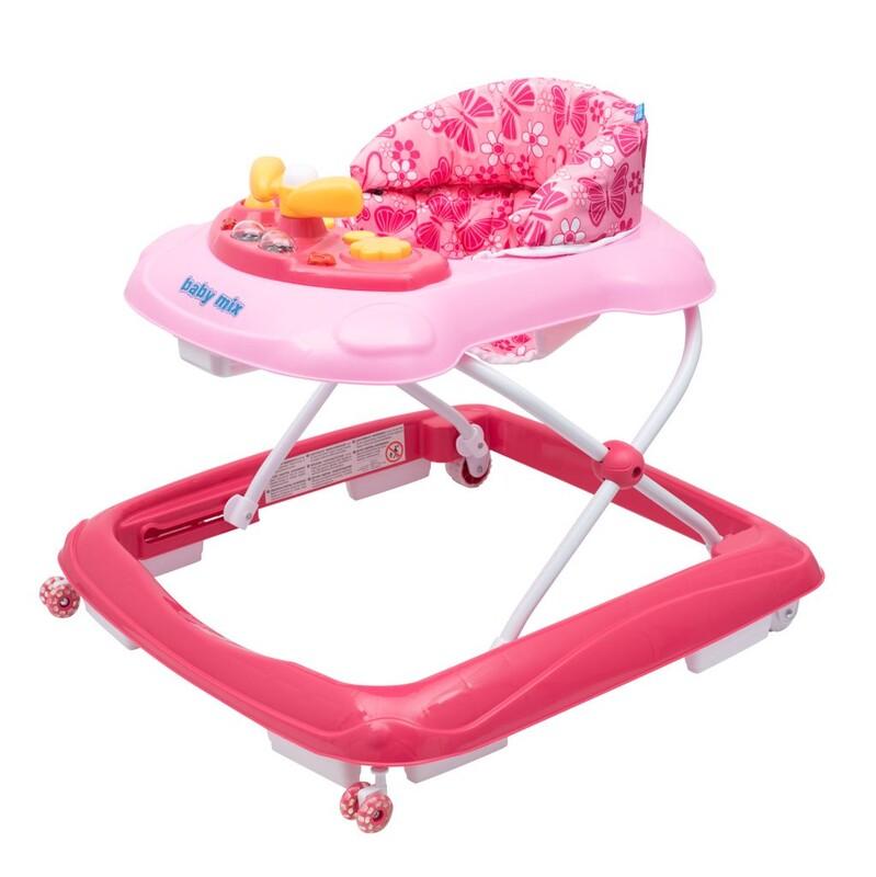 BABY MIX - Detské chodítko s volantom a silikónovými kolieskami ružové