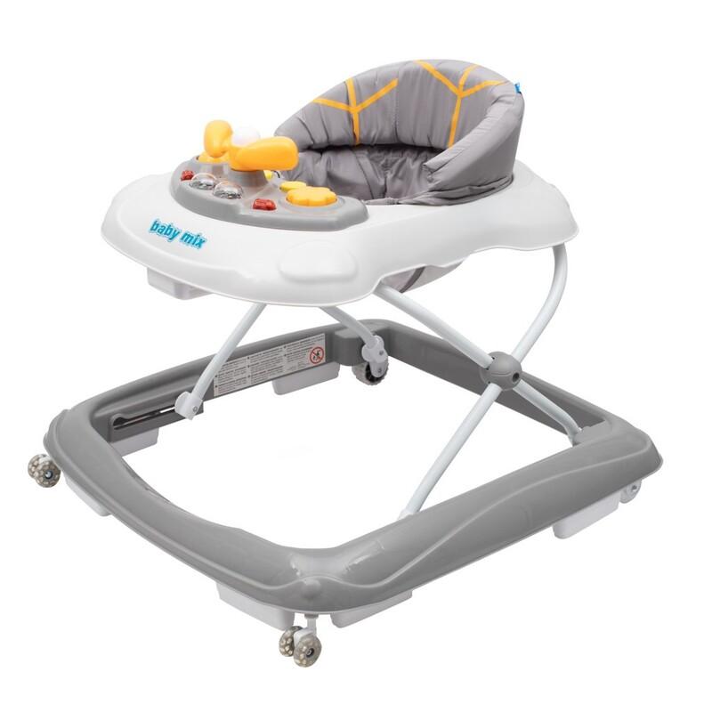 BABY MIX - Detské chodítko s volantom a silikónovými kolieskami sivé