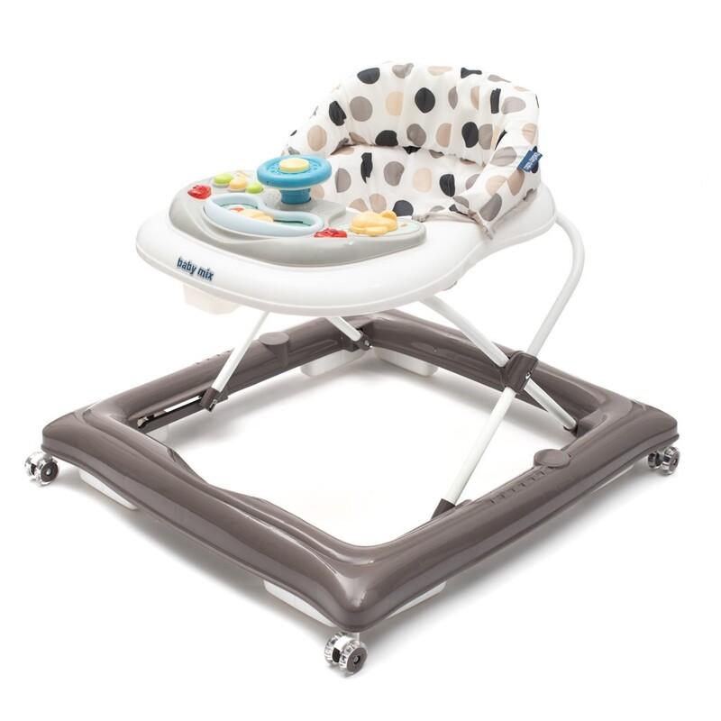 BABY MIX - Detské chodítko s volantom a silikónovými kolieskami sivo-biele