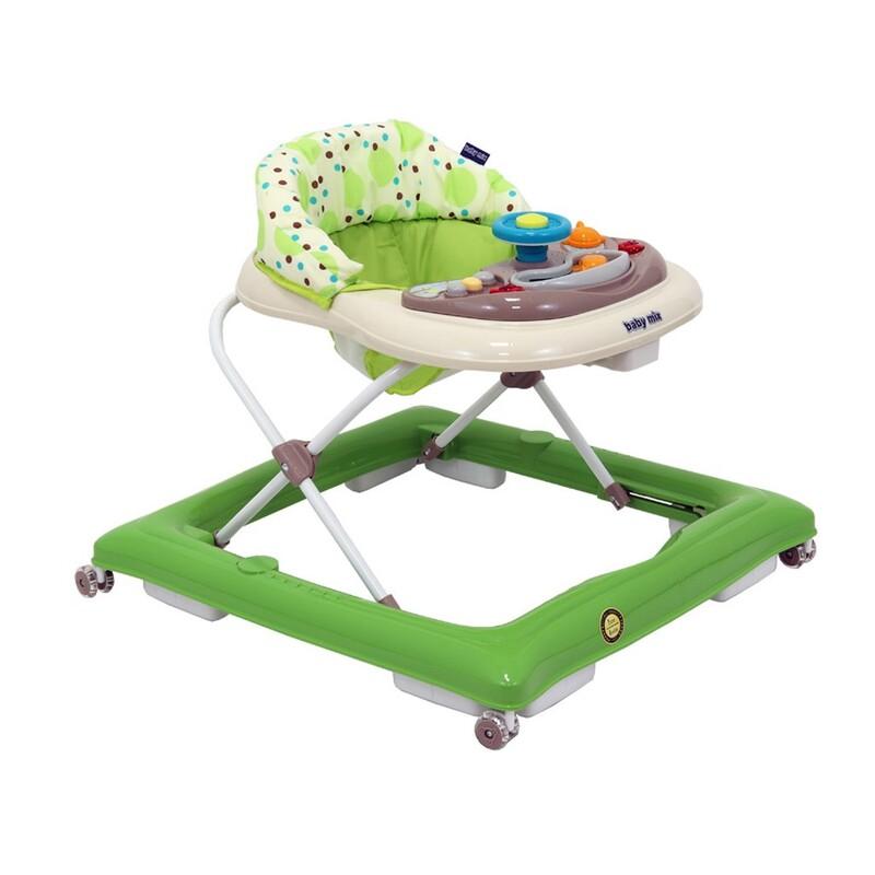 BABY MIX - Detské chodítko s volantom a silikónovými kolieskami zeleno-béžové