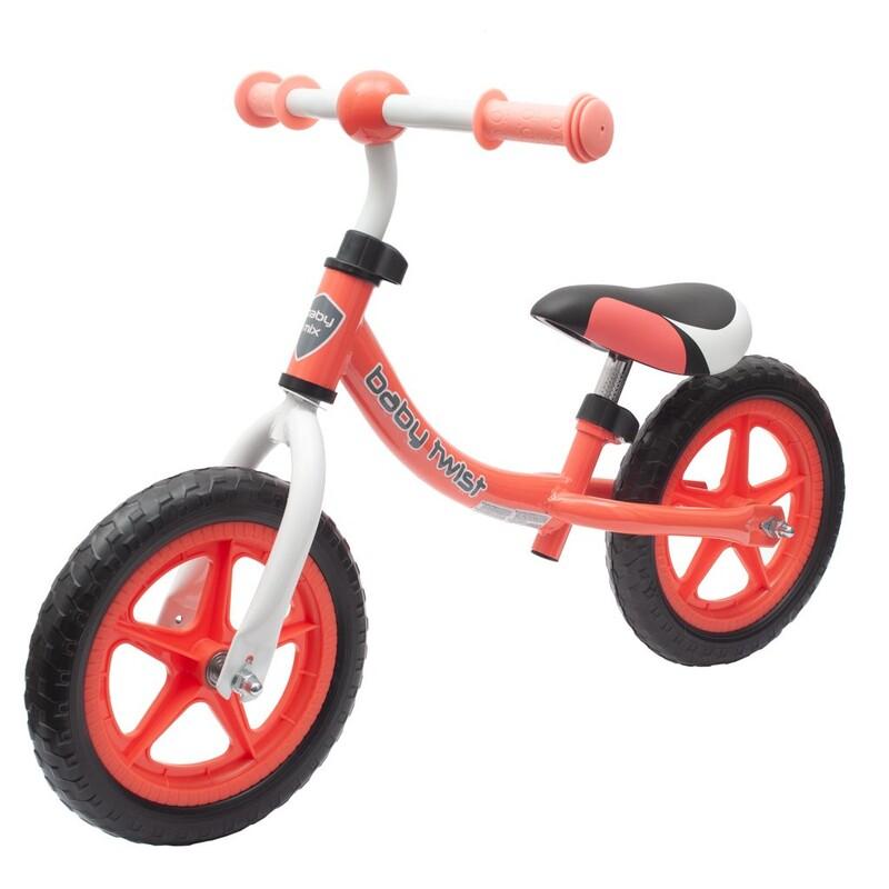 BABY MIX - Detské odrážadlo bicykel TWIST coral red