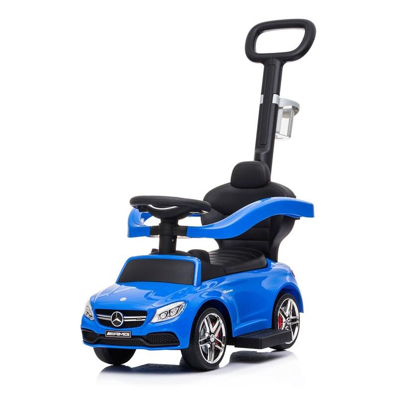 BABY MIX - Detské odrážadlo s vodiacou tyčou Mercedes Benz AMG C63 Coupe modré
