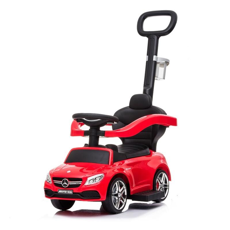 BABY MIX - Detské odrážadlo s vodiacou tyčou Mercedes Benz AMG C63 Coupe červené