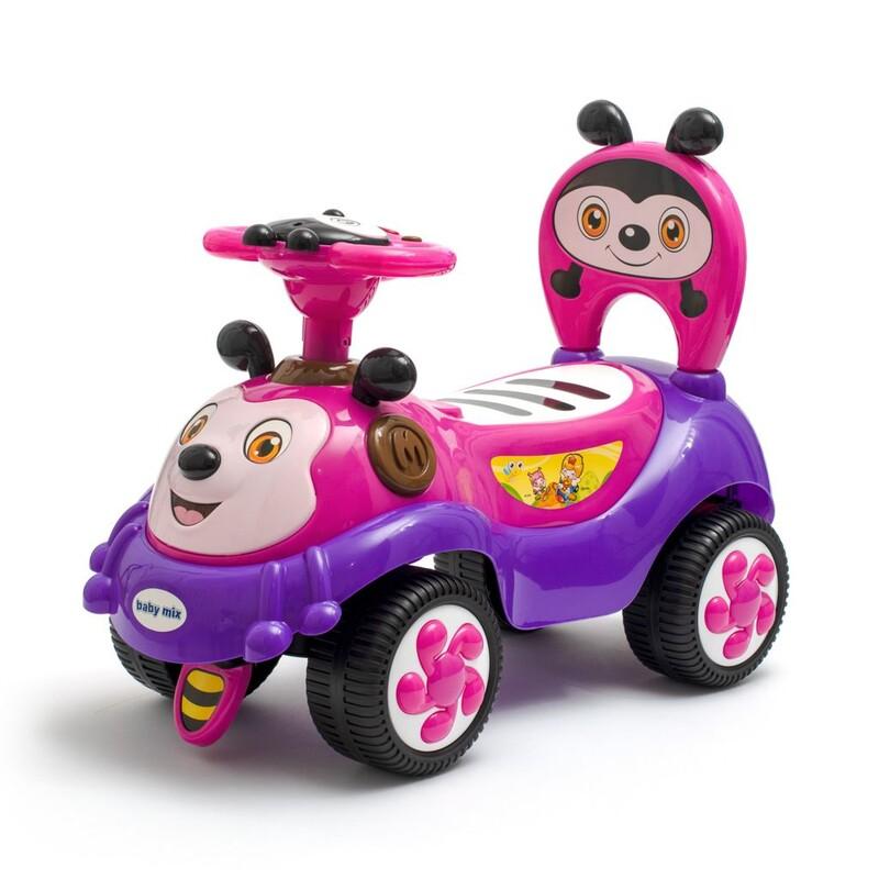 BABY MIX - Detské odrážadlo so zvukom Happy Bee ružové