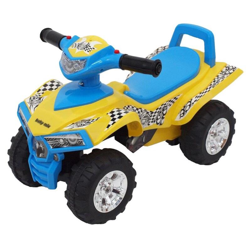 BABY MIX - Detské odrážadlo so zvukom Štvorkolka yellow/blue