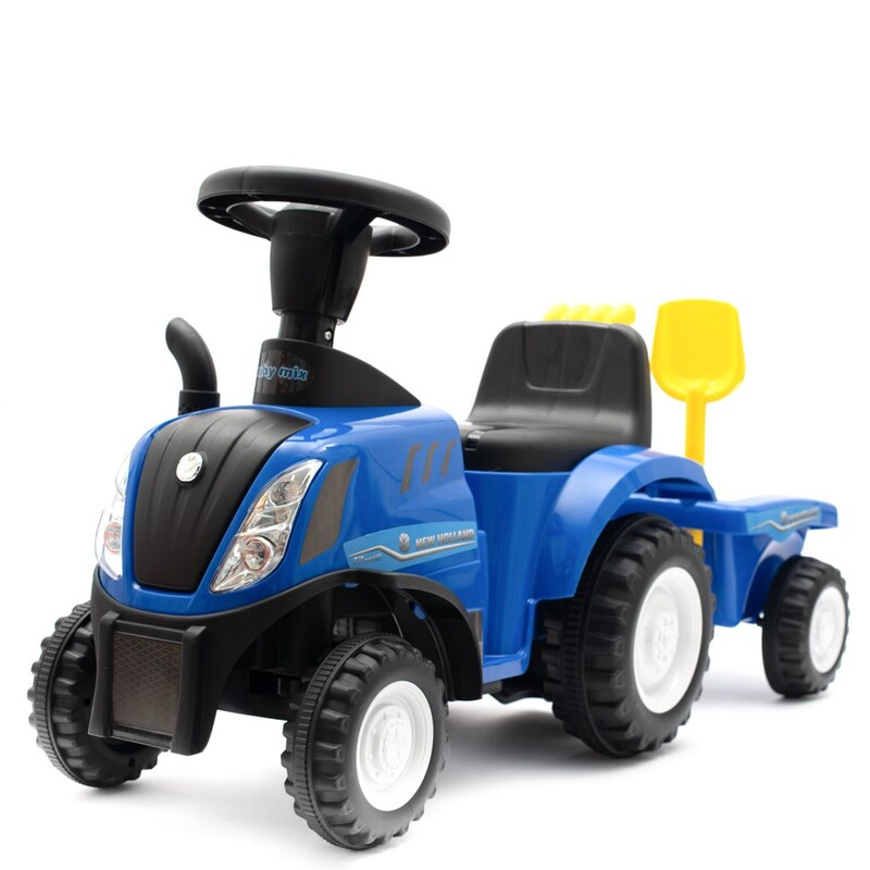 BABY MIX - Detské odrážadlo traktor s vlečkou a náradim New Holland modrý