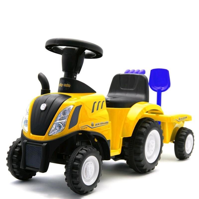 BABY MIX - Detské odrážadlo traktor s vlečkou a náradim New Holland žltý
