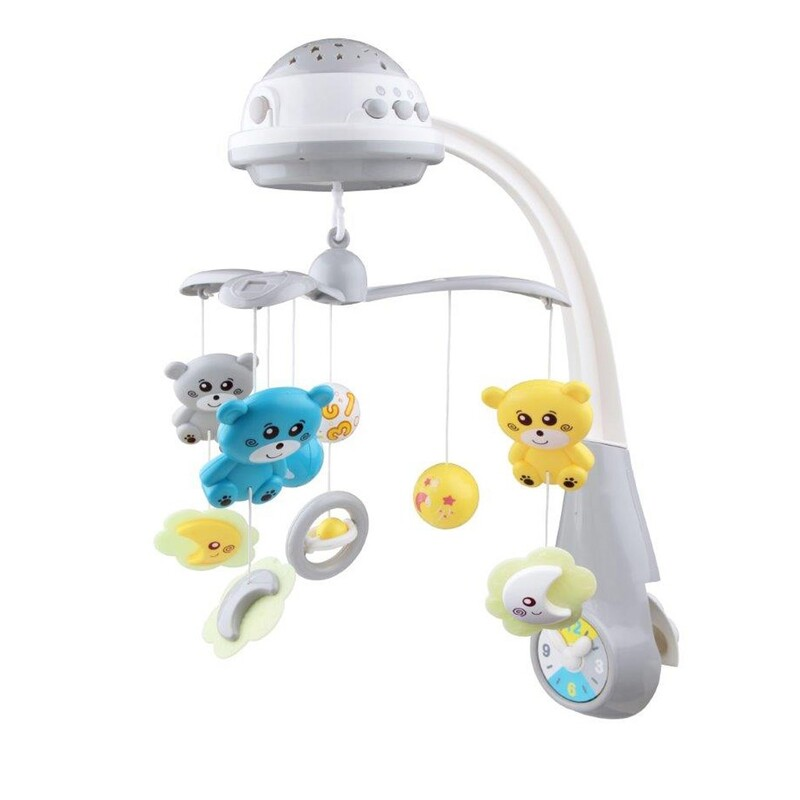 BABY MIX - Kolotoč nad postieľku so svetelným projektorom grey