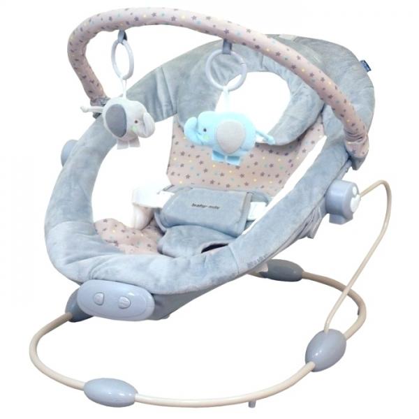 BABY MIX - Lehátko pre dojčatá s vibráciou a hudbou - sivé