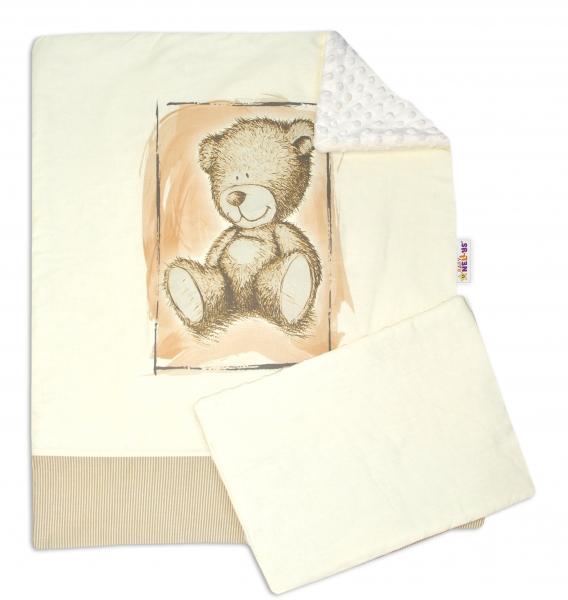 BABY NELLYS - 2-dielna sada do kočíka s Minky by Teddy - piesková, smotanová