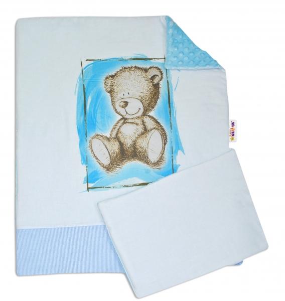 BABY NELLYS - 2-dielna sada do kočíka s Minky by Teddy - sv. modrá, sv. modrá