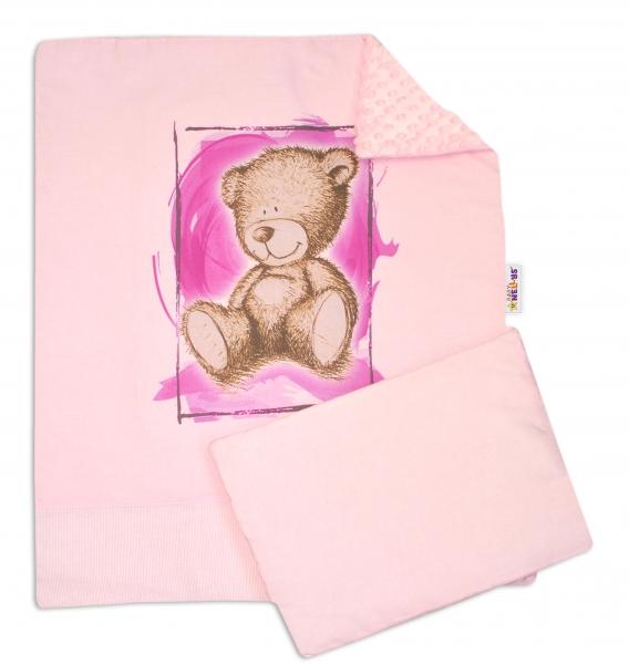 BABY NELLYS - 2-dielna sada do kočíka s Minky by Teddy - sv. ružová, sv. růžová