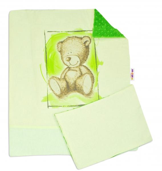 BABY NELLYS - 2-dielna sada do kočíka s Minky by Teddy - sv. zelená, tm. zelená