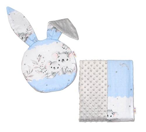BABY NELLYS - 2-dielna sada do kočíka s Minky s uškami - Koala, modrá