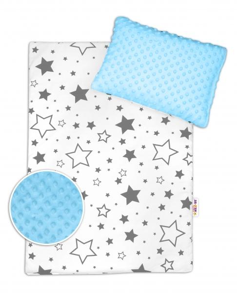 BABY NELLYS - 2-dielna sada do kočíka s Minky - Sivé hviezdy a hviezdičky / Minky svetlo modrá