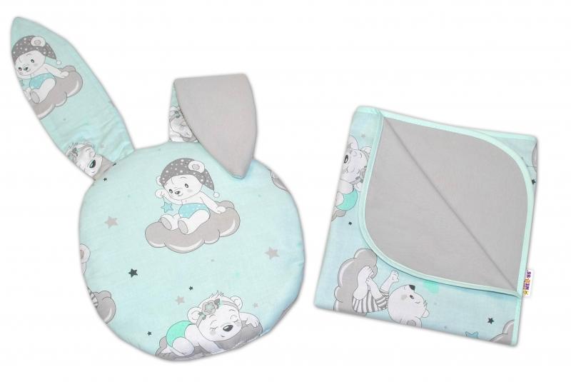BABY NELLYS - 2-dielna súprava do kočíka jersey s uškami, Medvedíky na obláčikoch - mätová