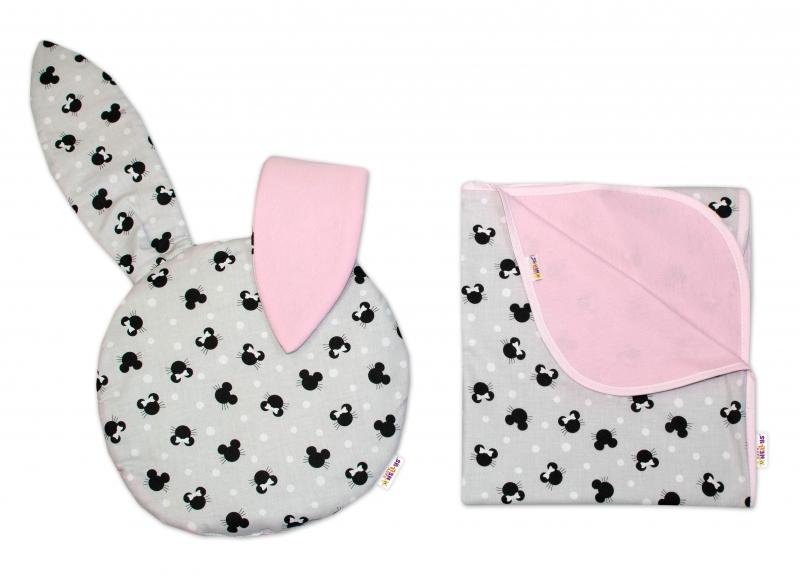 BABY NELLYS - 2-dielna súprava do kočíka jersey s uškami, Minnie - sivá/ružová