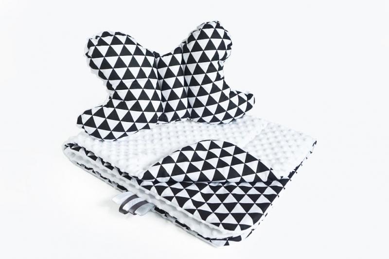 BABY NELLYS - 2-dielna Súprava do kočíka s Minky s motýlikom - trojuholníčky, Minky - čierna/biela