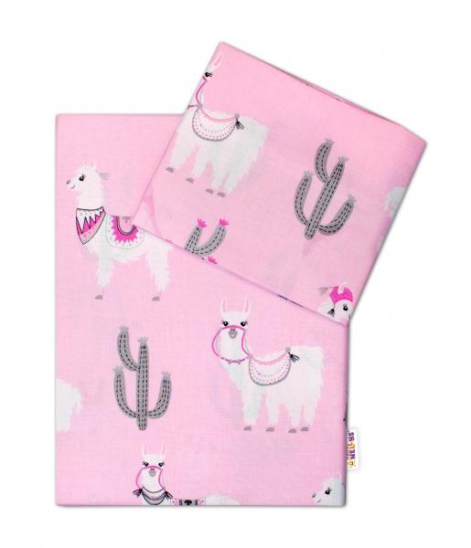 BABY NELLYS - 2-dielne bavlnené obliečky 135x100cm, Lama - růžové