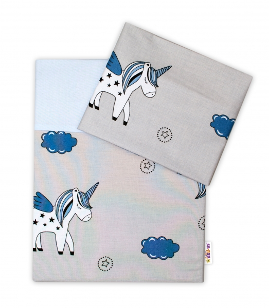 BABY NELLYS - 2-dielne bavlnené obliečky Jednorožec - sivá/modrá