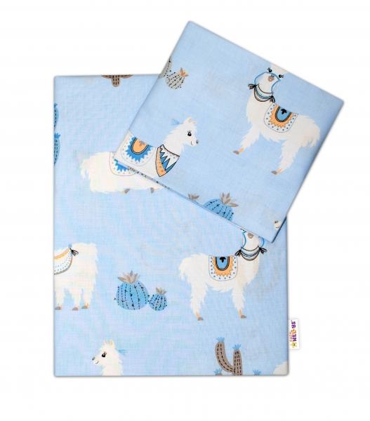 BABY NELLYS - 2-dielne bavlnené obliečky Lama, modré