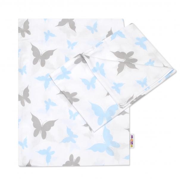 BABY NELLYS - 2-dielne bavlnené obliečky Motýliky - modré