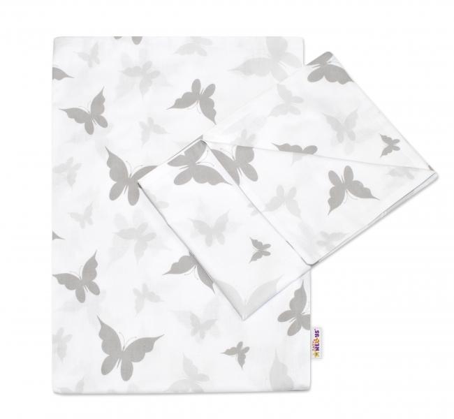 BABY NELLYS - 2-dielne bavlnené obliečky Motýliky - sivé