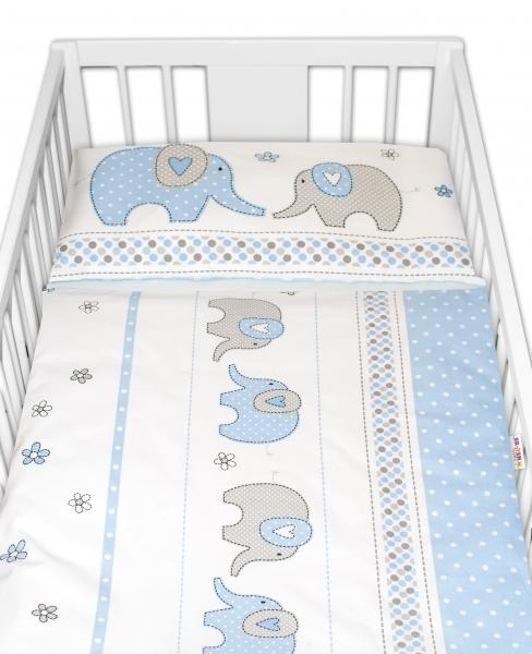 BABY NELLYS - 2-dielne bavlnené obliečky Sloni - modré, 135x100 cm