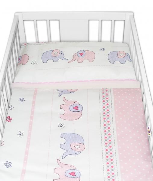 BABY NELLYS - 2-dielne bavlnené obliečky Sloni - ružové, 135x100 cm