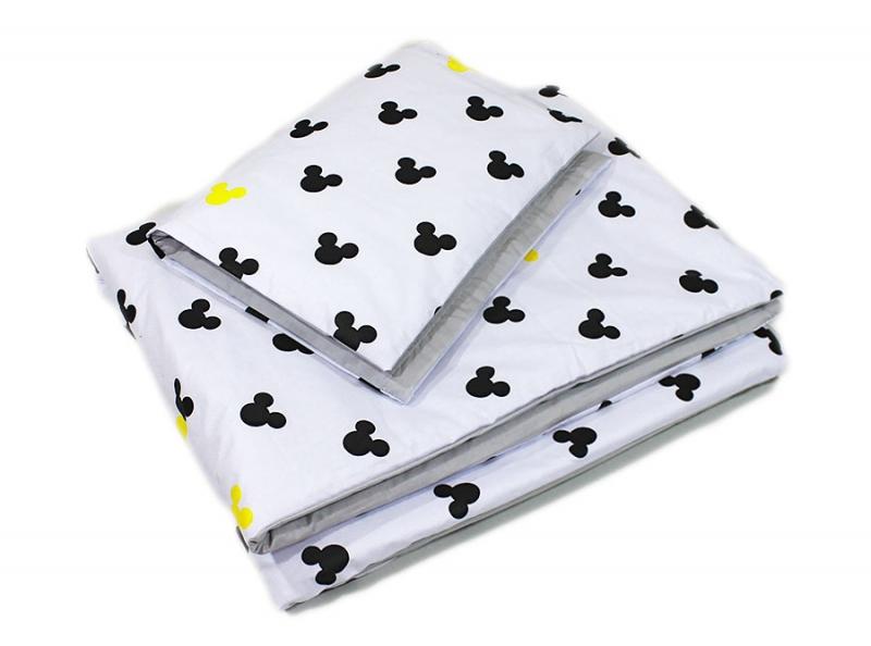 BABY NELLYS - 2-dielne obliečky Mickey, bavlnené - sivá, žltá, B19
