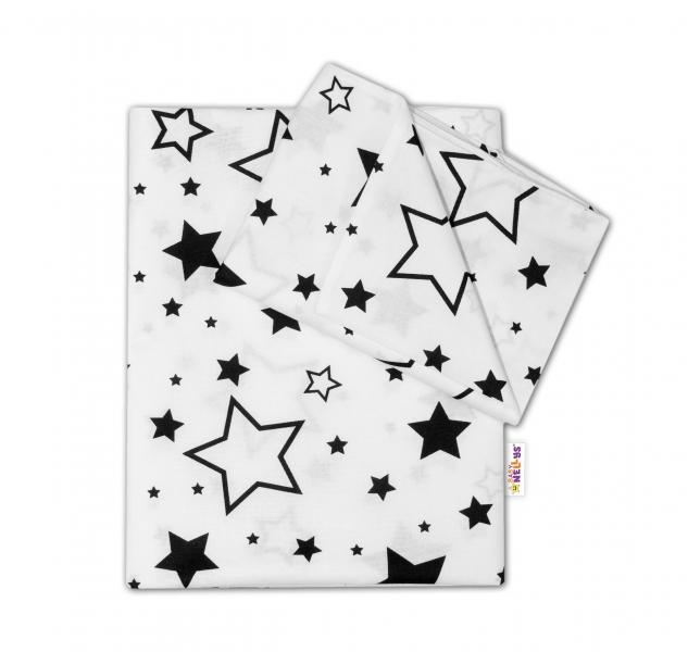 BABY NELLYS - 2-dielné s obliečkami - Čierne hviezdy a hviezdičky - biely