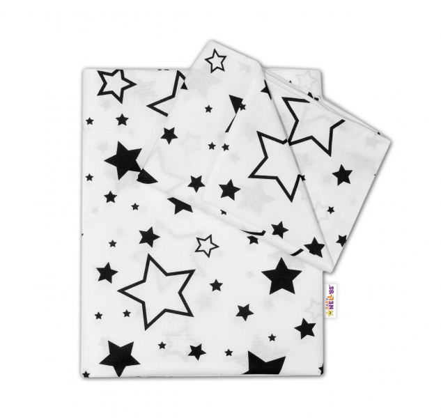 BABY NELLYS - 2-dielné s obliečkami - Čierne hviezdy a hviezdičky - biely, 135x100 cm