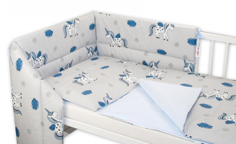 BABY NELLYS - 3- dielná sada mantinel s obliečkami Jednorožec, 135x100 - sivá/modrá