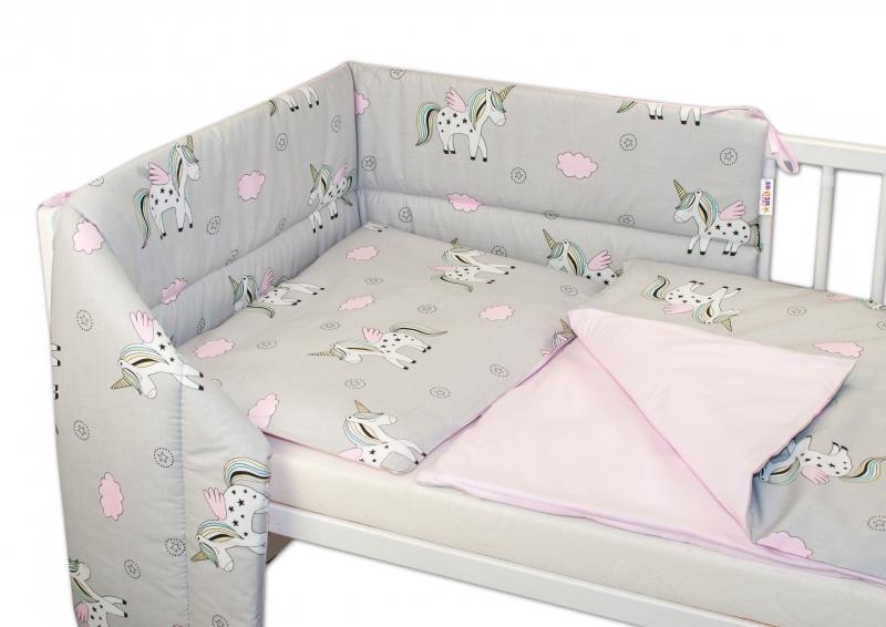 BABY NELLYS - 3- dielna sada mantinel s obliečkami Jednorožec - sivá/ružová