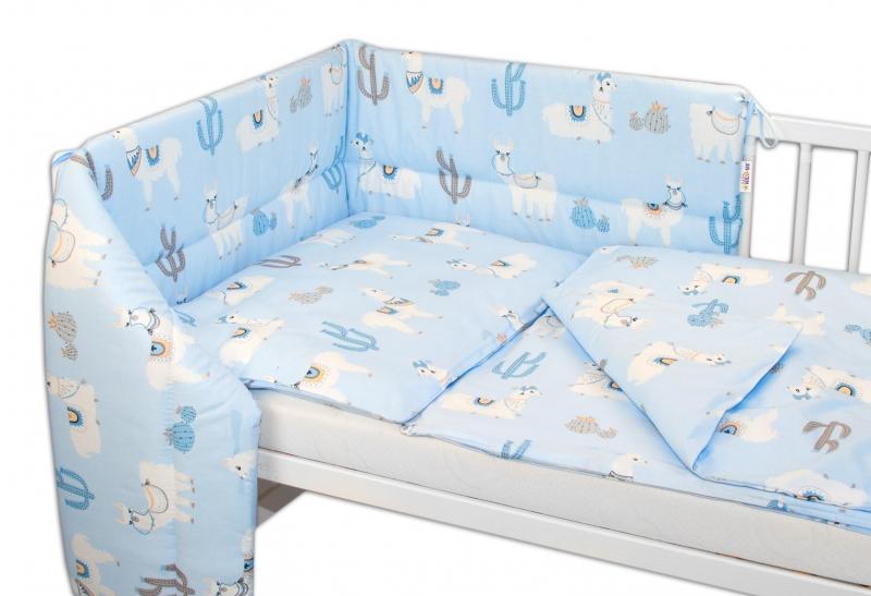 BABY NELLYS - 3- dielna sada mantinel s obliečkami Lama, modrá