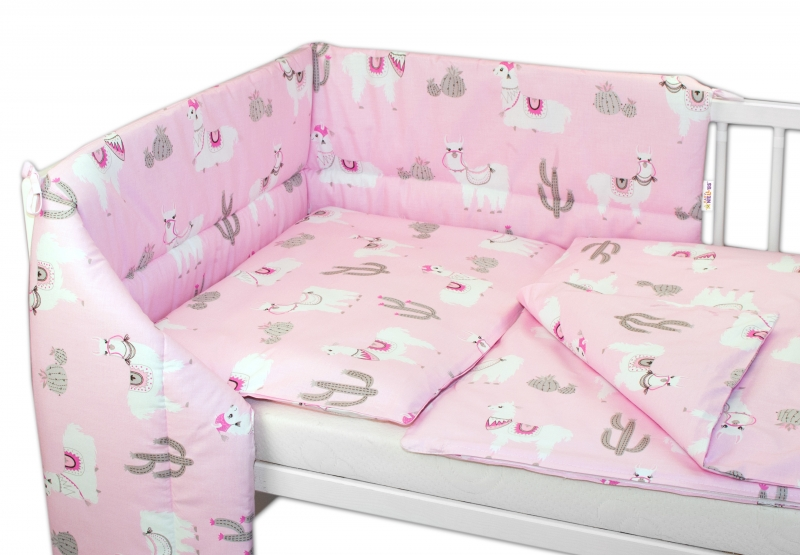 BABY NELLYS - 3- dielná sada mantinel s obliečkami Lama, růžový