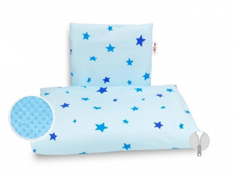 BABY NELLYS - 4-dielna súprava do kočíka Minky, - Hviezdičky modré