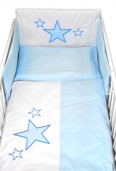 BABY NELLYS - 5-dielna súprava do postieľky Baby Stars - modrá