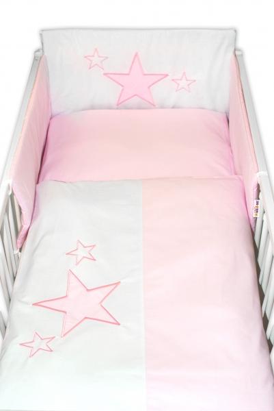 BABY NELLYS - 5-dielna súprava do postieľky Baby Stars - ružová, veľkosť 135x100 cm