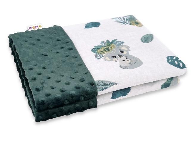 BABY NELLYS - Bavlnená deka s Minky 100x75cm, Tropical Koala - zelená, biela