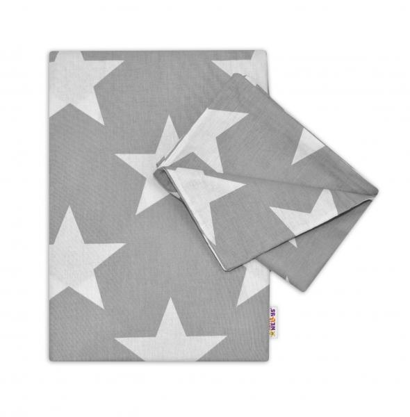 BABY NELLYS - Bavlnené obliečky 120x90 - Big Stars - šedé