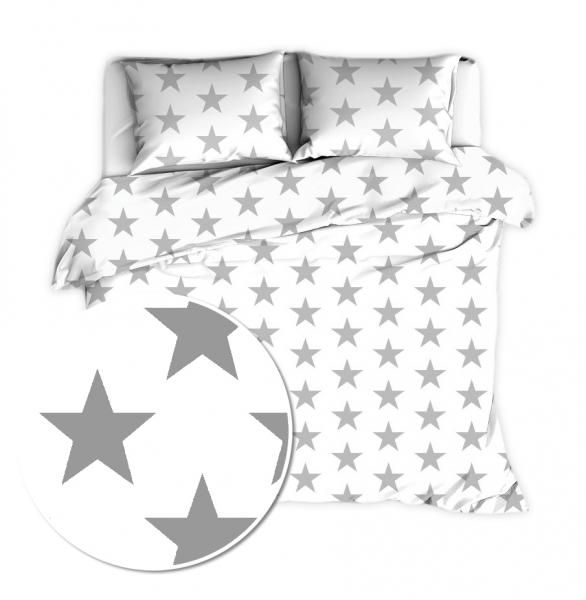 BABY NELLYS - Bavlnené obliečky 140 x 200 - Big Stars - biele