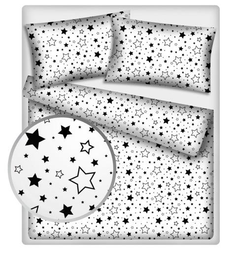BABY NELLYS - Bavlnené obliečky 140 x 200 - Čierne hviezdy a hviezdičky