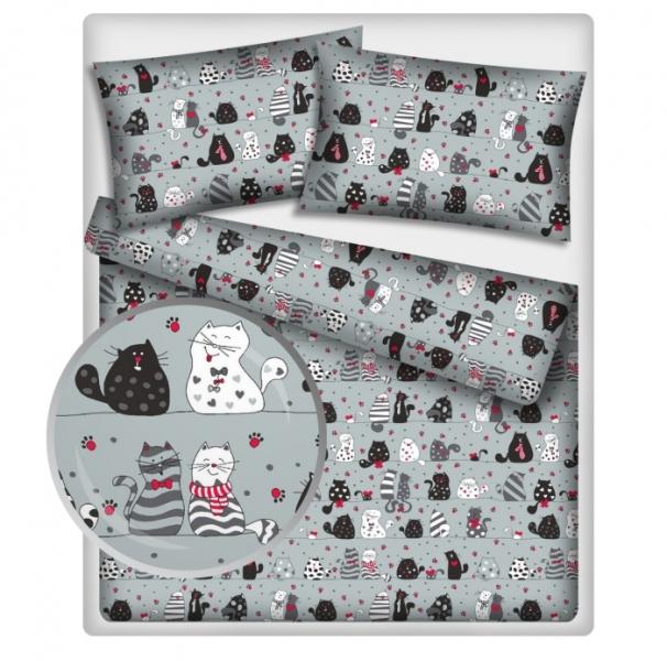 BABY NELLYS - Bavlněné obliečky 140 x 200 - mačky - sivé