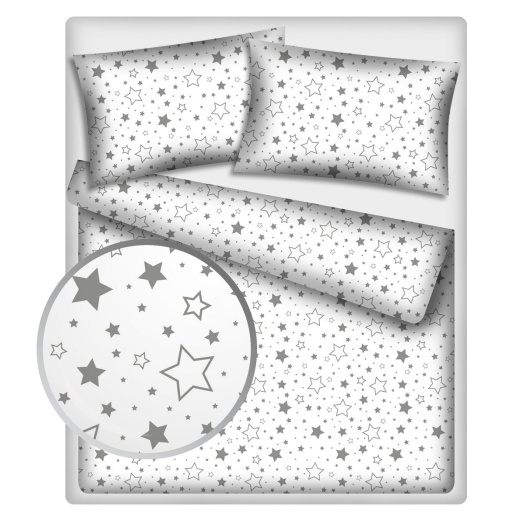 BABY NELLYS - Bavlnené obliečky 140 x 200 - Sivé hviezdy a hviezdičky