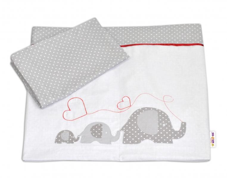 BABY NELLYS - Bavlnené obliečky s výšivkou ®- Slony so srdiečkom