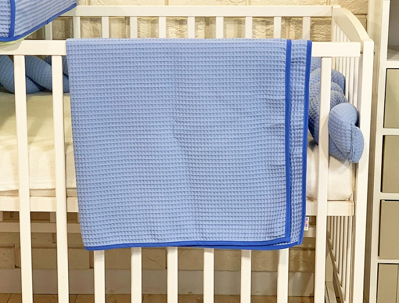 BABY NELLYS - Deka 90 x 90 cm - vaflová, modrá