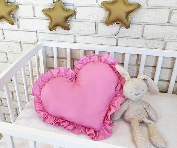 BABY NELLYS - Dekoračné obojstranný vankúšik - Srdce, 45 x 40 cm - rúžové