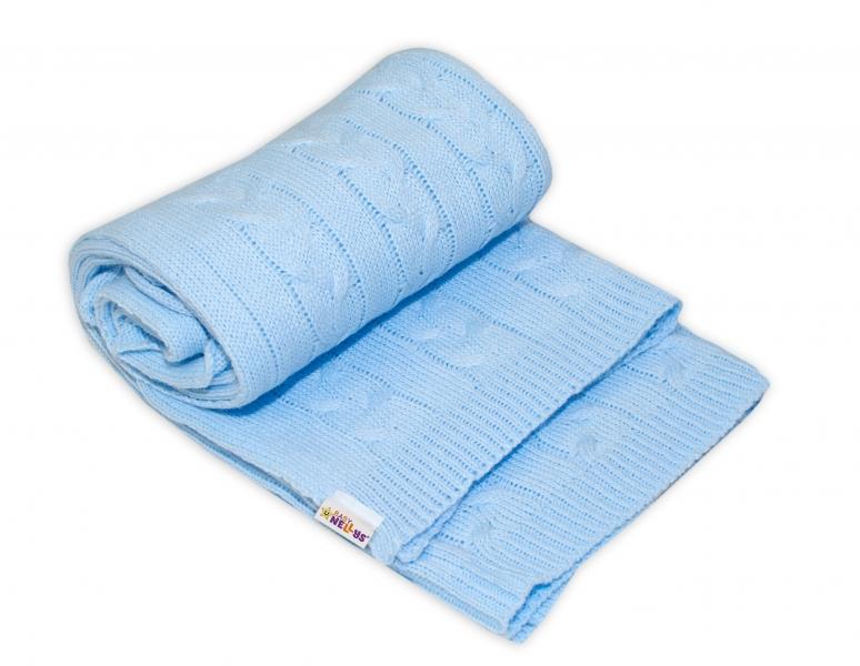 BABY NELLYS - Detská akrylová deka, dečka Baby Nellys, 110 x 80 cm - sv. modrá