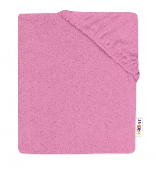 BABY NELLYS - Detská froté plachta do postieľky tmavo ružové